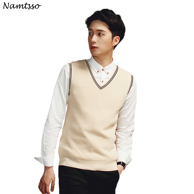 100% Cotton Vest Men 2018 Autumn Winter New British style V neck Sleeveless Sweater Knitwear Pull Brand base top Clothing 192