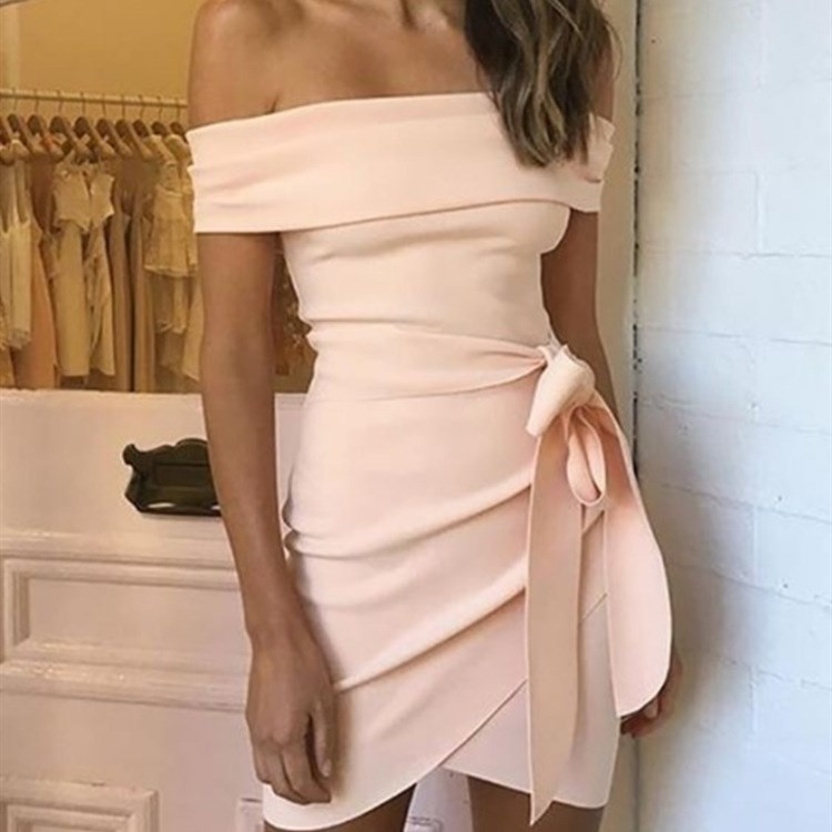 Women Slash Neck Belted Bodycon Dress Sexy Off Shoulder Backless Empire Party Dress Bohemian Summer Mini Dress in Dresses from Women 39 s Clothing