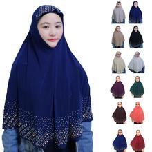 One Piece Ramadan Muslim Women Amira Prayer Hat Hijab Scarf Headwrap Overhead Cover Khimar Islamic Headscarf Full Cover Shawl