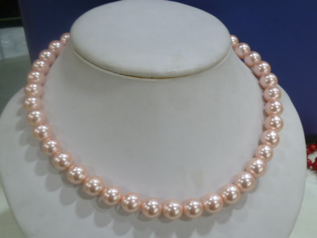 10x10 jewerly freeshipping 10mm Pink Round Shell Pearls Necklace AAA 18