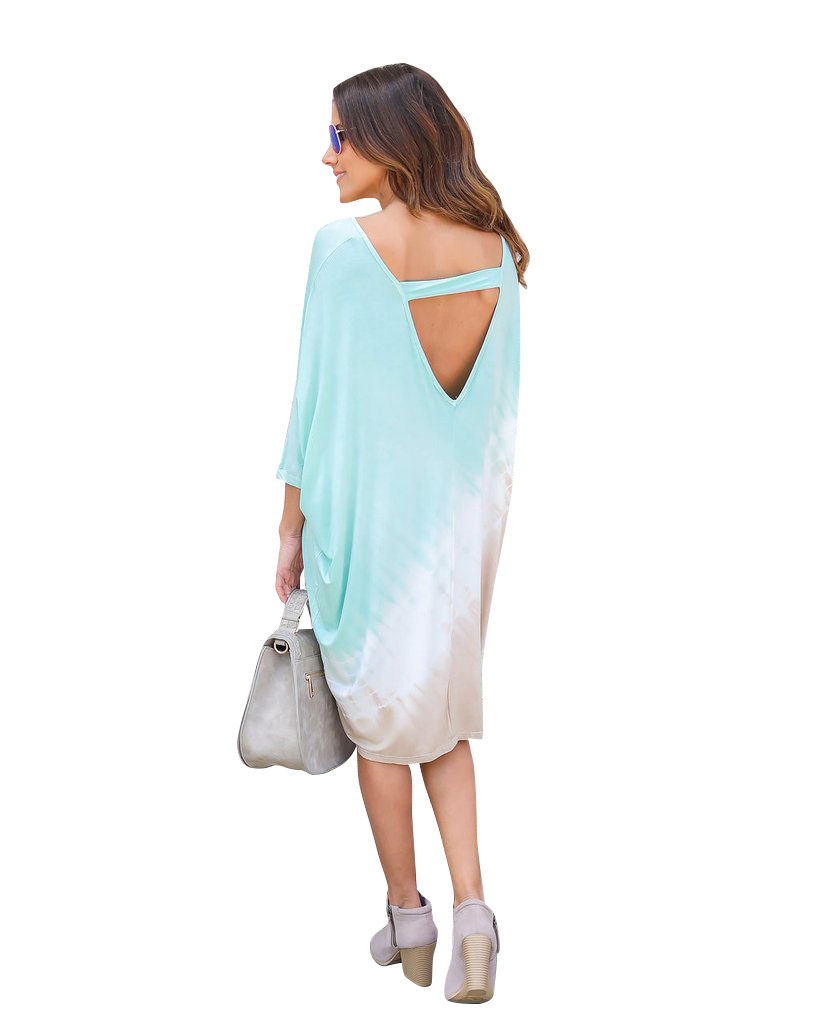 Misstyle Summer Women Half Sleeve Print Loose Dress Casual Beach Style 2017 Fashion Midi