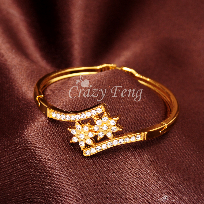 Fashion New Women/Lady's Yellow Gold Color Clear Austrian Crystal Double Flower Bracelets & Bangles Jewelry Gifts