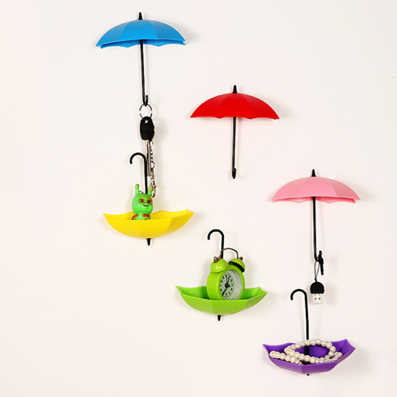 3PCs Creative Umbrella Shape Wall Mount Hook Key Holder Storage Stand Hanging Hooks For Bathroom Kitchen Door  66CY