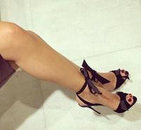 Free Shipping Brand Choudory Sexy Women Solid Black Bow Tie Cute Open Toe Thin Heels Party High Heel Sandals Shoes Plus Size 43
