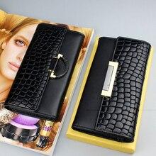 Portefeuille 3 plis pour femmes, portefeuille en cuir véritable, 2020, pochette à loquet pour dames, portefeuille Long