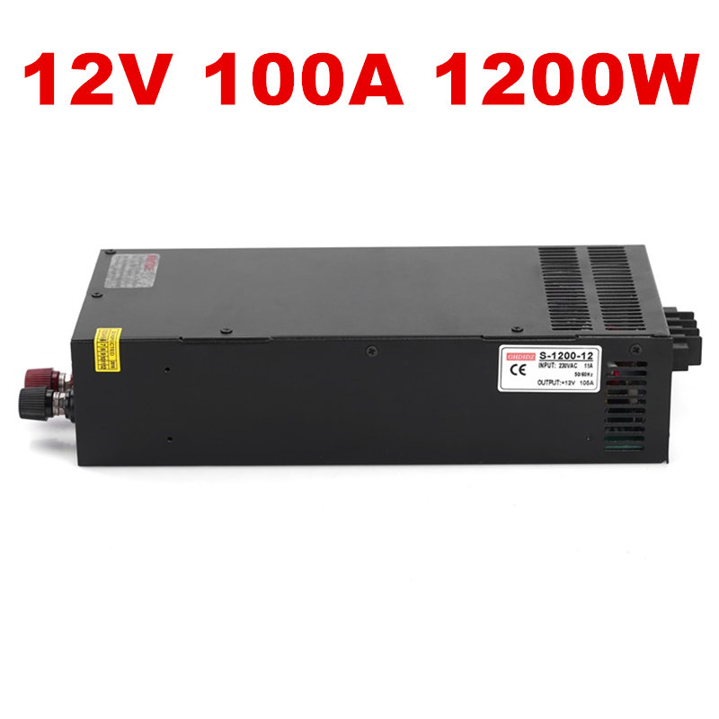 цена на 1PCS 1200W 12V Power Supply 12V 100A AC-DC High-Power PSU 1200W S-1200-12 LED Driver CCTV 110/220VAC
