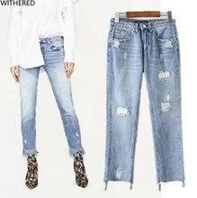 Freeshipping джинсы женщина летние джинсы 2017 Моды и личности Буквы вышивка отверстие Заусенцев джинсы