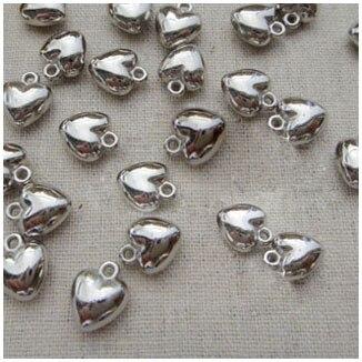 200 Uds amor corazón encanto gotas y colgantes 8x6mm BAMOER, nueva llegada, Plata de Ley 925, auriculares de oreja de gato, colgante, pulsera de encanto para mujer, joyería de cuentas DIY SCC441