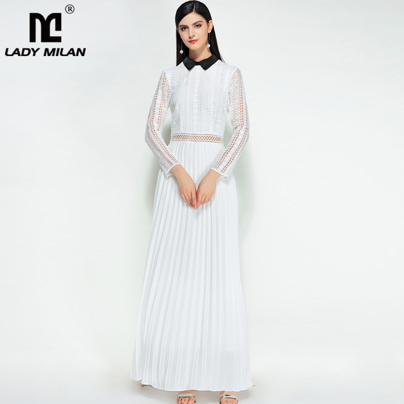 New Arrival 2018 Womens Turn Down Collar Long Sleeves Hollow Out Patchwork Pleated Elegant Long Prom Designer Dresses