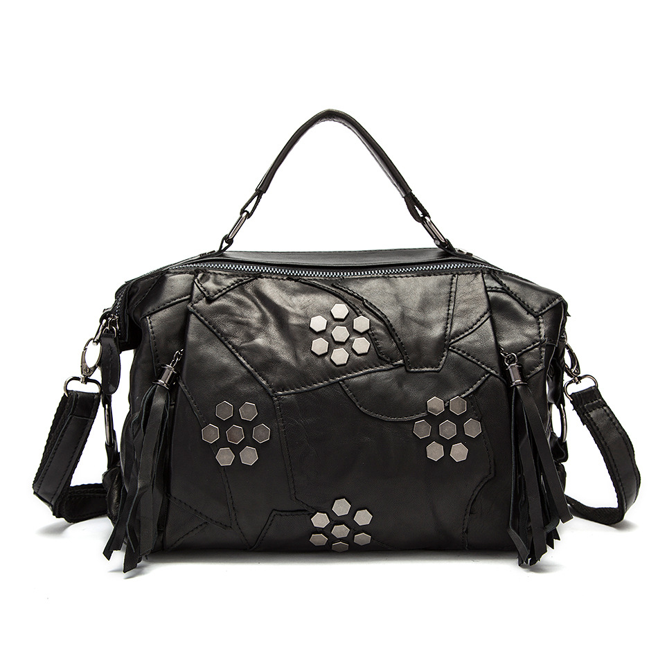 ФОТО Messenger Bag Fashion Sheepskin Tassel Rivet Handbag Genuine Leather Totes Luxury Handbags Women Bags Designer Bolsa Feminina