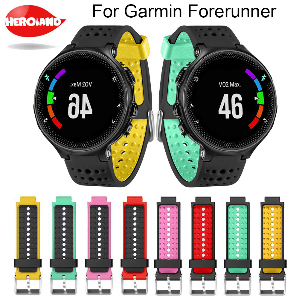 Two colors 2in1 Watchband Soft Silicone Replacement Wrist Watch Band bracelet strap For Garmin Forerunner 220/230/235/620/630 new 2016metal stainless steel watch band strap for garmin forerunner 220 230 235 630 620 735 high quality 0428
