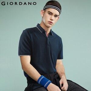 Image 1 - Giordano Men Polo Shirt Men Pique Fabric Slim Fit Short Sleeves Contrast Color Polo Men Shirt Smooth Durable Camisa Polo