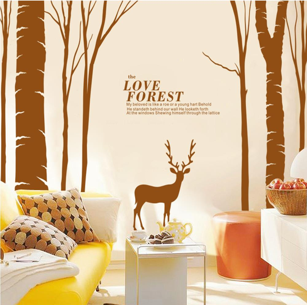 Large birds birch tree buck wall stickers forest wall decal home aeproducttsubject amipublicfo Images