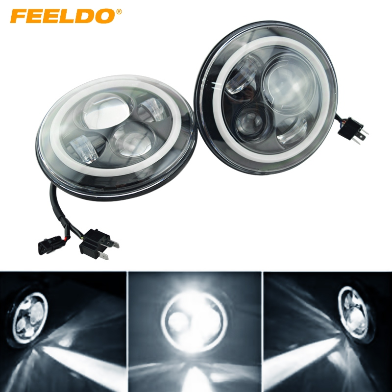 FEELDO Angel Eyes 7 Round Headlights LED Flashlight Halo H4 Hi/Low 20W Headlight DRL LED Kit For Jeep Wrangler #FD-1954 катушка lucky john anira spin 7 3000 fd