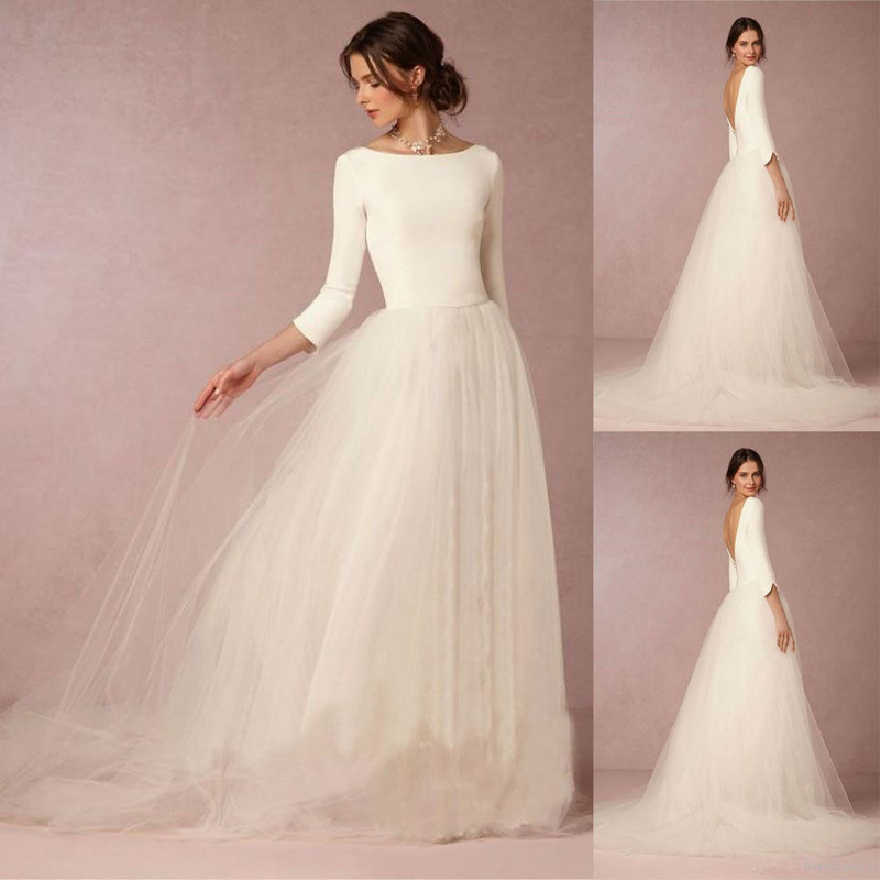 U-SWEAR 2019 A-line Stunning Wedding Dresses White/Ivory Scoop 3/4 Sleeve Bridal Gown Tulle Backless Custom Made