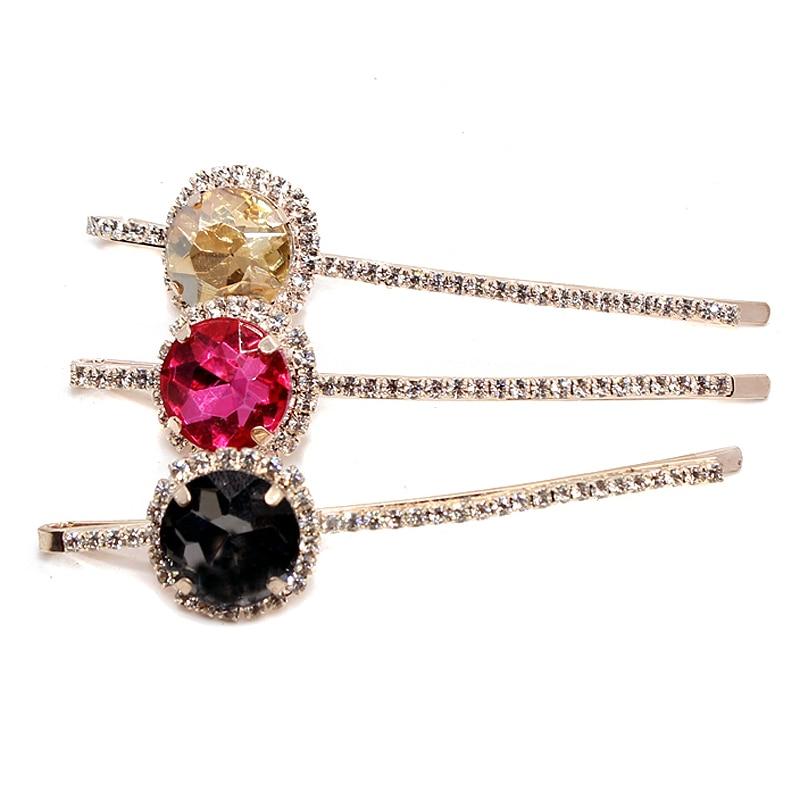 1 Pair Korea Fashion Baru Aksesoris Rambut Pink Kristal Jepit Rambut Abu-abu Berlian Imitasi Lingkaran Rambut Klip Untuk Wanita Perhiasan Hairwear
