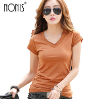 Nonis V Neck Basic Tees For Women Summer 2017 New Plus Size Short Sleeve T Shirts