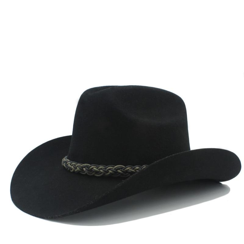 9544d58662134 100% Australia lana mujeres hombres hueco sombrero de vaquero occidental  Caballero laday Fieltro cowgirl Jazz ecuestre sombrero Cap tamaño 58 cm en  ...