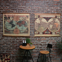 Large Retro Navigation Map Linen Cloth Painting Scrolls Poster Mural Paintings Banners Hanging Art Office Loft Ornament Wall