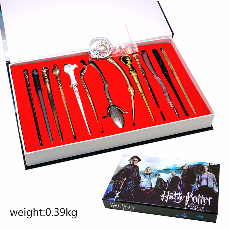 13pcs/set 11.5cm Mini Harry Potter Cosplay Weapon Metal toy Harry Potter Magical Wand Stick necklace/keychain Gifts Box Packing
