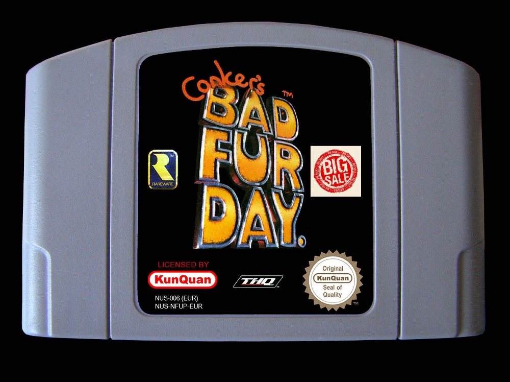 64 Bit Games ** Conker's Bad Fur Day English PAL Version ( chip save file, no need battery!! ) 64 bit games conker s bad fur day english pal version chip save file no need battery