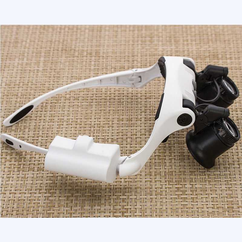 10X 15X 20X 25X LED 拡大鏡ダブルアイルーペジュエリー時計修理ツール 8 レンズ Led ライト時計屋ストラップ拡大鏡メガネ