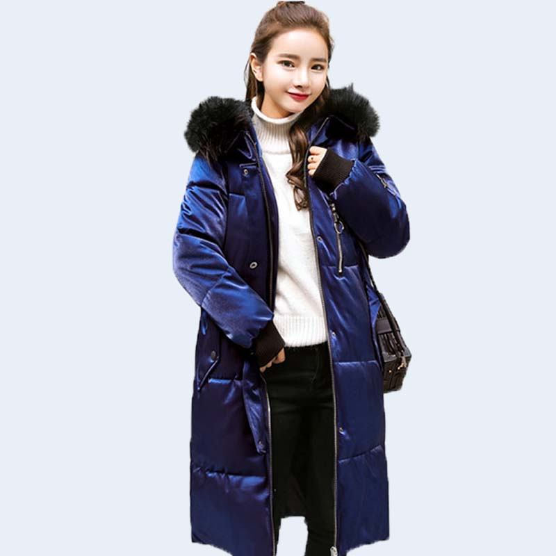 winter Snow Office Lady windproof   Down     Coat   Women jacket Parkas woman warm Jackets Thickened Duck Leather Lengthening the knee