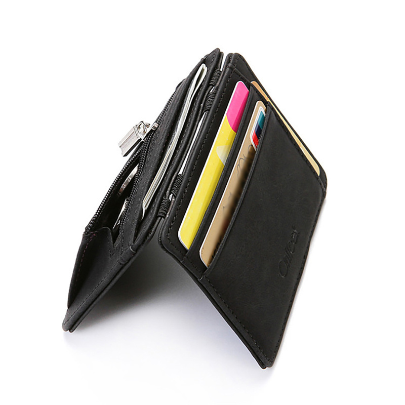 Ultra Thin 2019 New Men Male PU Leather Mini Small Magic Wallets Zipper Coin Purse Pouch Plastic Credit Bank Card Case Holder