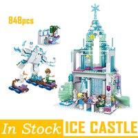 legoing Elsa Anna Ice Dream Romantic Castle Model Building Blocks Bricks Cinderella Princess Castle City set Legoing Friends