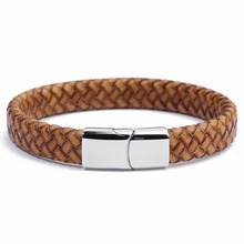 LOULEUR Mens Weave Chain Wristband Leather Bracelet For Men Magnetic buckle Classic Bangle Jewelry Gift Man