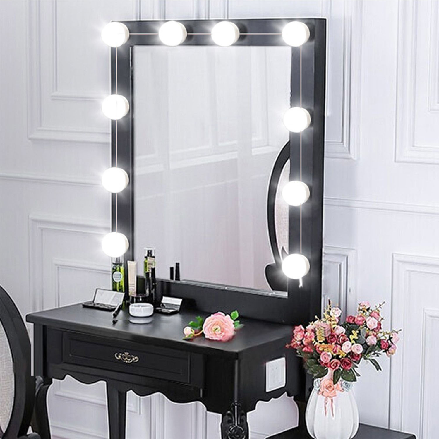 Vanity Mirror With Lights.Hollywood Style Led Vanity Mirror Lights Kit Dimmable Light Bulbs