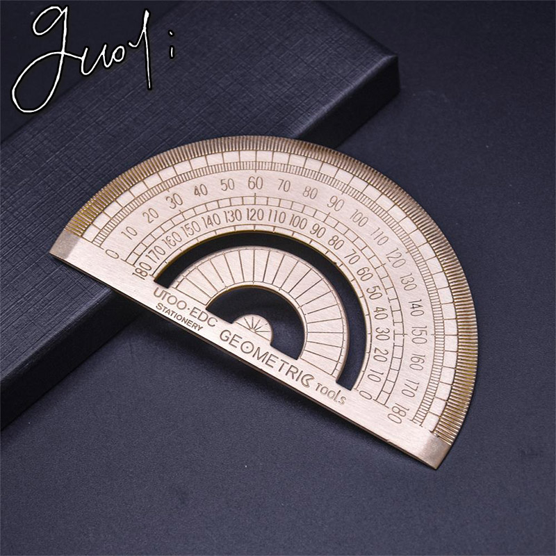Guoyi Z006 Copper Protractor Teaching Pen Drawing Measuring Ruler Learning Office For School Stationery Hotel Business Supplies