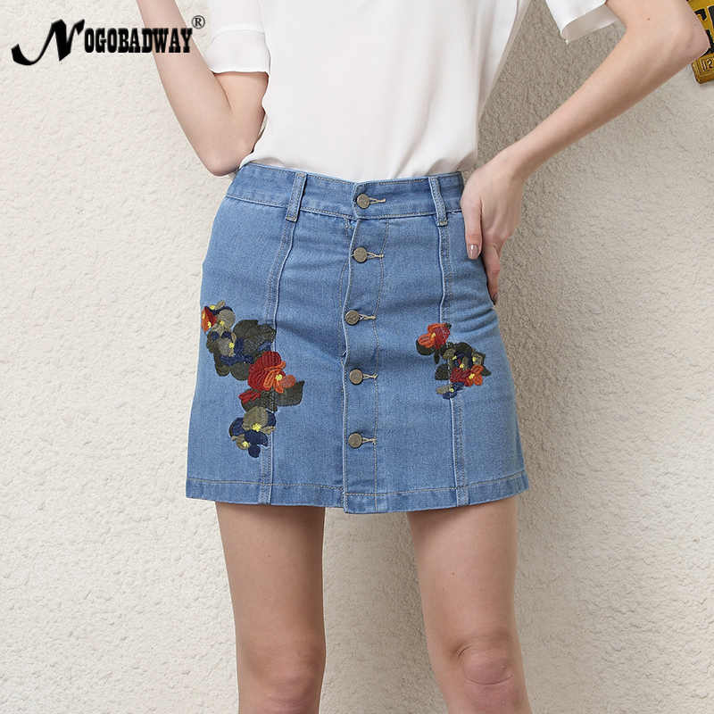 ed1493dcd77f Flower embroidered mini denim skirts women 2018 summer casual vintage  cotton a line jeans shorts hot