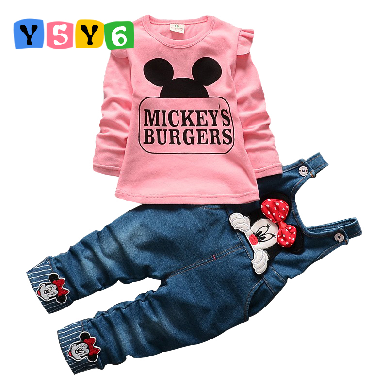 2018 New Minnie Girls Clothing Sets Spring Casual cotton baby Suspenders Set Full sleeve shirts Jeans 2 pcs. Kids Clothing2018 New Minnie Girls Clothing Sets Spring Casual cotton baby Suspenders Set Full sleeve shirts Jeans 2 pcs. Kids Clothing