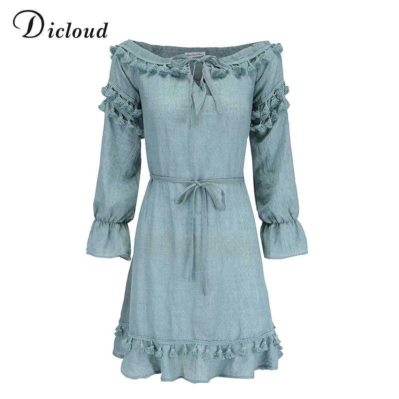 Dicloud синий с плеча сексуальные кисточки бохо платья женщины лето осень с длинным рукавом зашнуровать богемной рюшами платья женские