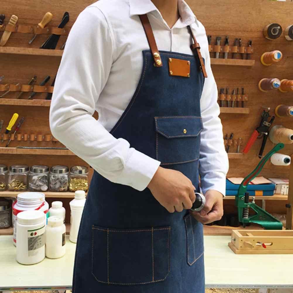 الدنيم مآزر بسيطة الأزرق موحدة للجنسين الكبار الجينز مآزر للمرأة الرجال الذكور سيدة المطبخ الطبخ المريلات
