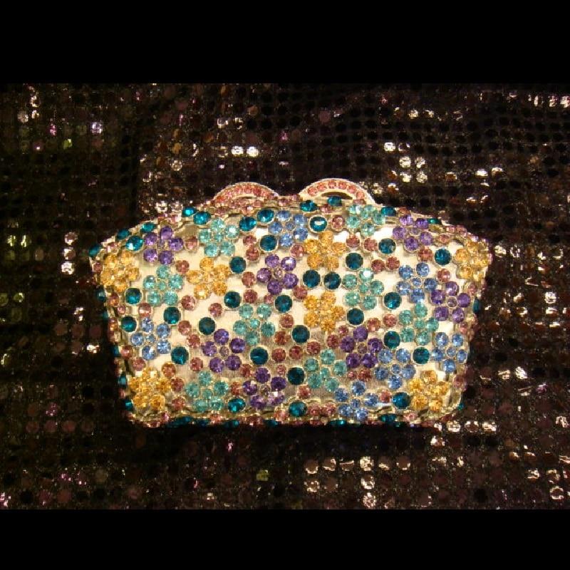 A6638 Crystal Lady fashion Wedding Bridal Party Night hollow Silver Metal Evening purse font b handbag