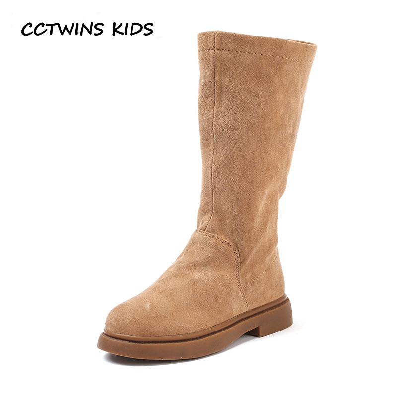 CCTWINS KIDS 2018 Winter Baby Girl Leather Suede Boot Children Fashion High  Boot Toddler Brand Warm Shoe Black C1147 70ef92fd73bd