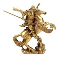 Arts Crafts Copper Elaborate Chinese Ancient Hero Guan Gong Guan Yu ride on horse brass statue