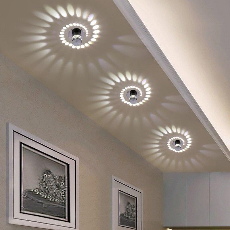 Moderna Luce di Soffitto del LED 3 W RGB del Riparo della parete per la Galleria D'arte Decorazione Frontale Balcone lampada luce del Portico corridoi Luce apparecchio