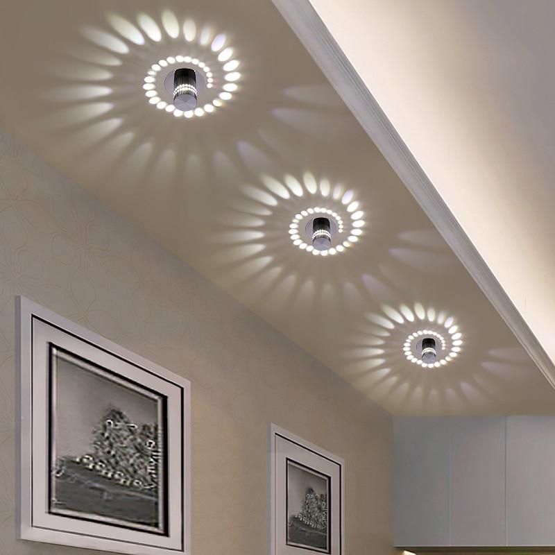 6 58 17 De Reduction Plafond Moderne A Leds Lumiere 3 W Rgb Applique Murale Pour Galerie D Art Decoration Avant Balcon Lampe Porche Lumiere