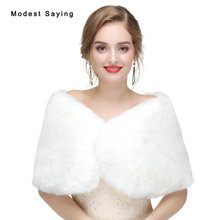Cheap Ivory Faux Fur Wedding Shrugs 2017 New Arrival Bridal Shawls Boleros Fur Stoles Jackets Warm Wraps Wedding Accessories