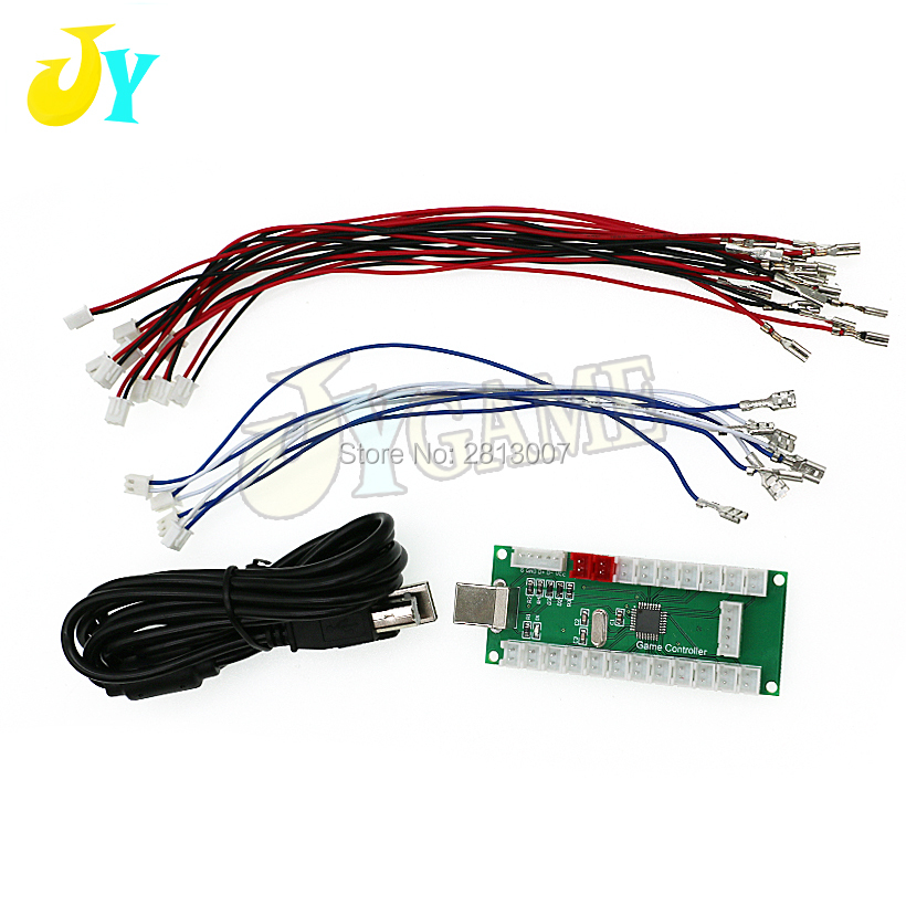 DIY Zero Delay Arcade USB Encoder To PC PS3 Raspberry Pi Android USB Cable Encoder Board +Push Buttons Wire Cables