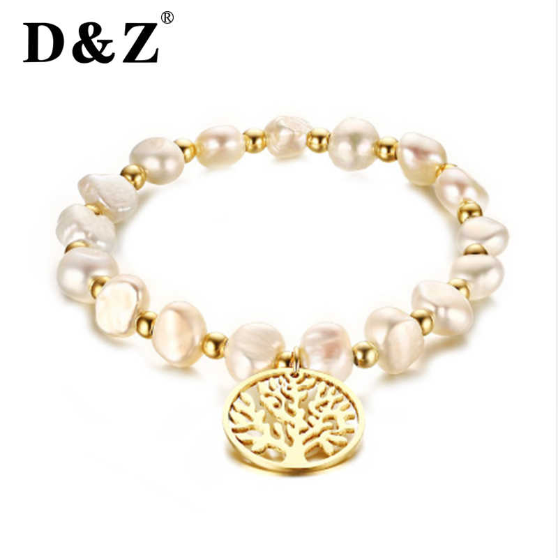 D&Z Trendy Irregula Freshwater Pearls Strand Beaded Bracelet Women Gold Stainless Steel Tree Of Life Bracelets Jewelry