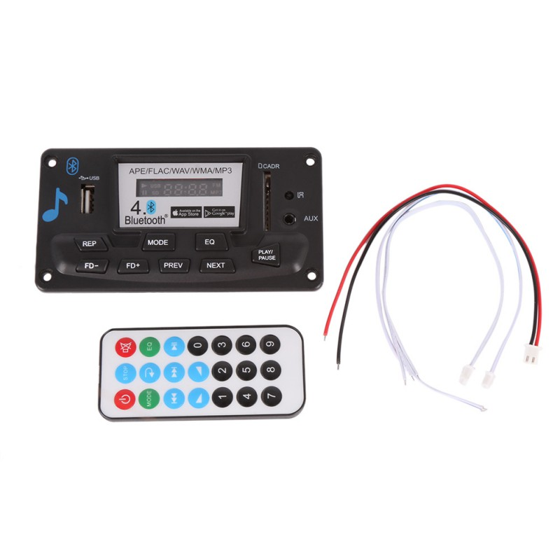 Bluetooth MP3 Decoding Board Module LED 12V DIY USB/SD/MMC APE FLAC WAV DAE Decoder Record MP3 Player AUX FM Folders Switch