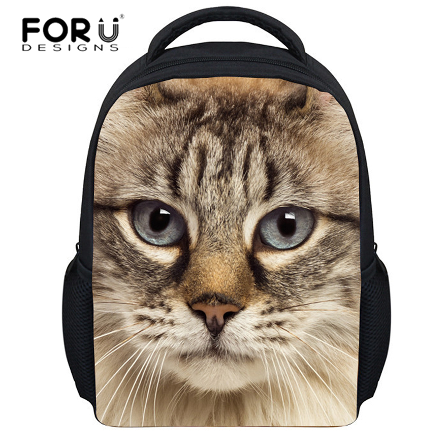 FORUDESIGNS kids backpacks kindergarten school bag 3D animals cat prints schoolbag for baby girls&boys child book bags mochila
