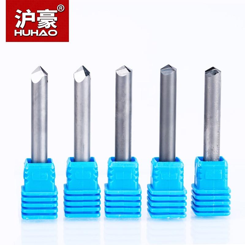 HUHAO 1 pc 6mm 6 Bord CNC Routeur End Mill Diamant PCD Cutter Outils Pierre Granit Dur De Coupe Gravure Bits 70 90 120 degré