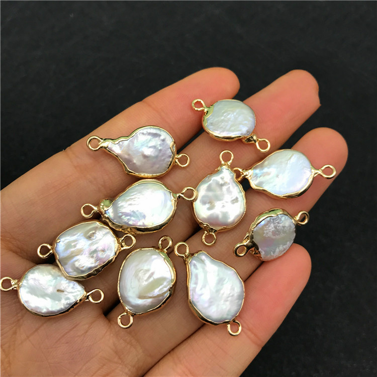 Natural Fresh Water Alien Baroque Pearl Gold Envelope Edge Double Pendant Earring Hair Jewelry String Material