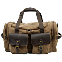 Man Vintage Military Travel Duffel Bag Multi pocket Canvas Overnight Bag Leather Weekend Carry on Big Shoulder Bags Tote Luggage