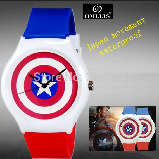 Captain America design watch Anime Jelly Wristwatches Woman digital quartz Watch Children watch Student watch relogios